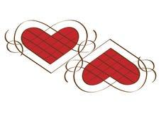 Dois corações caligráficos Fotografia de Stock