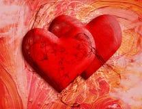 Dois corações - cartão ao dia de Valentim do St ilustração royalty free