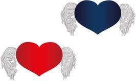 Dois corações com asas Fotos de Stock Royalty Free