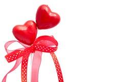 Dois corações com fitas Foto de Stock