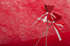 Dois corações com fitas Foto de Stock Royalty Free