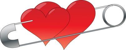 Dois corações com pino Fotografia de Stock Royalty Free