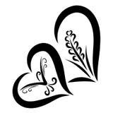 Dois corações com uma orelha do trigo e um pássaro de voo ilustração royalty free