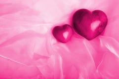 Dois corações cor-de-rosa Imagem de Stock