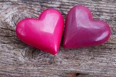 Dois corações cor-de-rosa Fotos de Stock Royalty Free