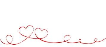 Dois corações da fita isolados no fundo branco ilustração stock