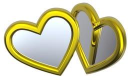 Dois corações de prata isolados no branco Imagem de Stock Royalty Free