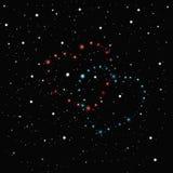 Dois corações de protagonizam no céu preto espalhado com estrelas brancas ilustração do vetor