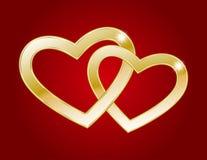 Dois corações do ouro Foto de Stock Royalty Free