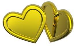 Dois corações do ouro isolados no branco Foto de Stock