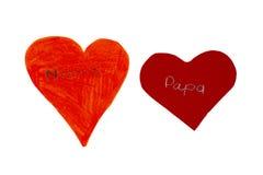 Dois corações do papel Imagem de Stock