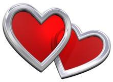 Dois corações do rubi isolados no branco Fotos de Stock