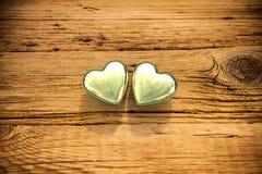 Dois corações dourados Foto de Stock Royalty Free