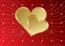 Dois corações dourados com estrelas Fotos de Stock Royalty Free