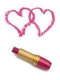 Dois corações e batons Foto de Stock Royalty Free