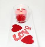 Dois corações e dia de Valentim do amor da vela Foto de Stock Royalty Free