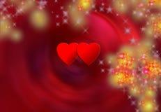 Dois corações e flocos da neve Fotografia de Stock Royalty Free