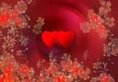 Dois corações e flores Fotos de Stock