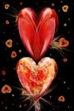 Dois corações e fractals em um fundo preto ilustração do vetor