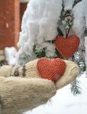 Dois corações e mãos vermelhos de matéria têxtil no fundo nevado pesado do ramo do abeto, perto da casa do tijolo vermelho Feliz  imagem de stock