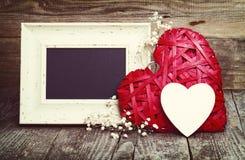 Dois corações e quadros-negros Imagem de Stock