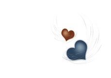 Dois corações em um fundo branco Foto de Stock Royalty Free
