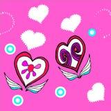 Dois corações em um fundo cor-de-rosa Imagens de Stock Royalty Free
