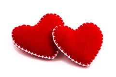 Dois corações enchidos junto Imagem de Stock