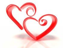 Dois corações estilizados Imagem de Stock