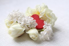 Dois corações Eu te amo Rosas brancas Imagens de Stock Royalty Free