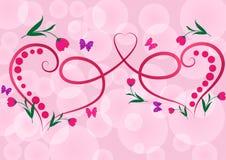 Dois corações florais vermelhos Fotografia de Stock