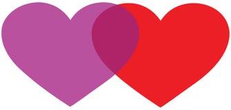 Dois corações lig Imagem de Stock