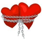 Dois corações ligados por uma corrente imagem de stock royalty free