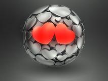Dois corações na esfera Imagem de Stock