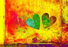 Dois corações na parede no estilo do grunge Fotos de Stock