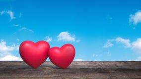 Dois corações no cartão 3d dos Valentim da tabela rendem Imagens de Stock Royalty Free