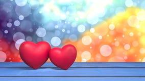 Dois corações no cartão 3d dos Valentim da tabela rendem Imagem de Stock Royalty Free