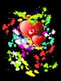 Dois corações no fundo brilhante Fotografia de Stock