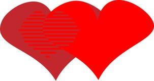 Dois corações para o dia do ` s do Valentim projetam o logotipo das felicitações Fotografia de Stock Royalty Free