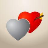 Dois corações quase no amor - ilustração Foto de Stock