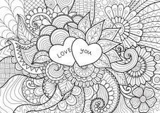 Dois corações que colocam em flores para o livro para colorir, os cartões e o fundo Imagem de Stock Royalty Free
