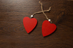 Dois corações vermelhos Fotos de Stock Royalty Free