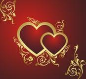 Dois corações vermelhos. Fotografia de Stock