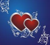 Dois corações vermelhos. Imagem de Stock