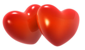 Dois corações vermelhos Imagens de Stock Royalty Free