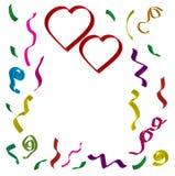Dois corações vermelhos com fitas e confetes em cores diferentes em 3 d no fundo branco Imagem de Stock Royalty Free