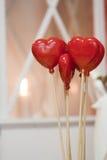 Dois corações vermelhos na vara fotografia de stock royalty free
