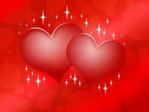 Dois corações vermelhos no fundo vermelho Imagem de Stock