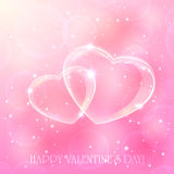 Dois corações no fundo cor-de-rosa Imagens de Stock Royalty Free