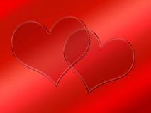 Dois corações transparentes de vidro no vermelho Imagem de Stock Royalty Free